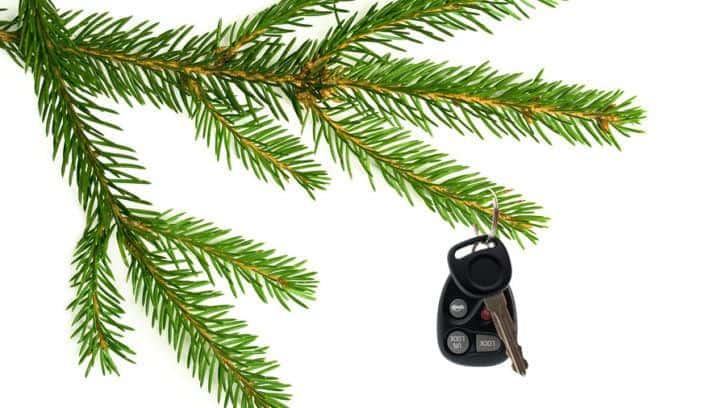 car keys on xmas tree-gift of designated driver